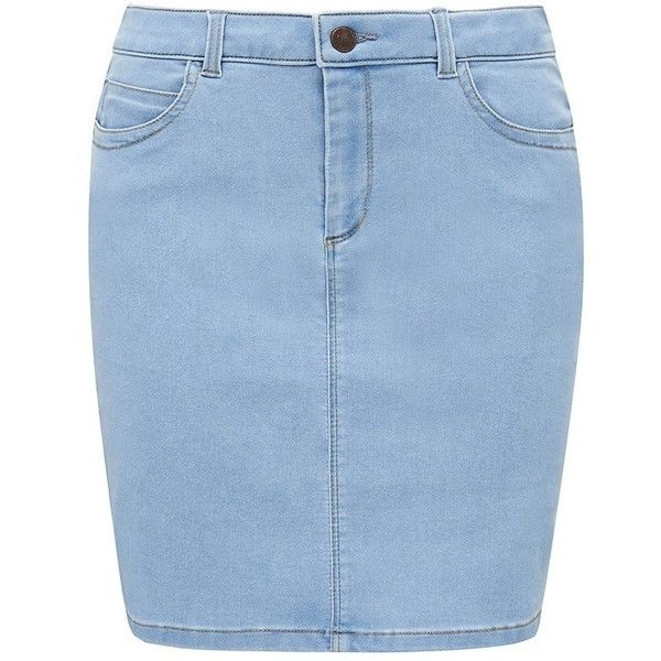 Forever New Sonia tube skirt featuring polyvore, fashion, clothing, skirts, mini skirts, mid wash, denim mini skirt, mini skirt, tube skirt, forever new and short tube skirt