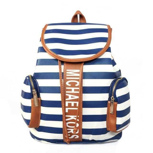 Michael Kors Striped Logo Large Blue Accessories Outlet UH659243