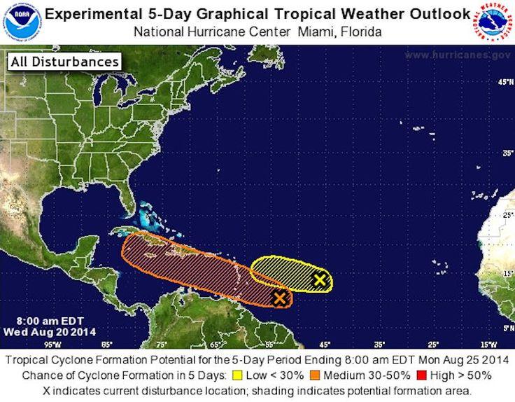 Las ondas tropicales hasta el 25 de agosto, en temporada de Huracanes en el #Caribe 5-day-tropical-nhc-740 #Hurricanes