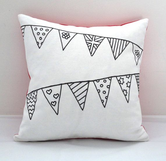 Colouring In Bunting Design Cushion Cover | Kids Hand Drawn Black
