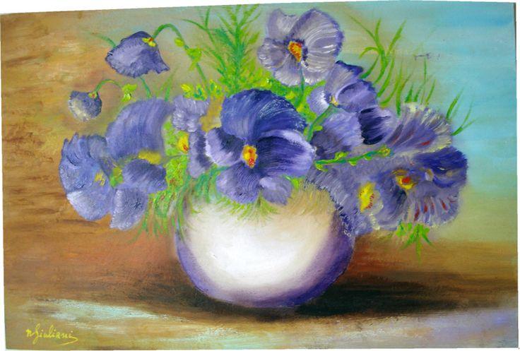 Violette nel vaso di cristallo: olio su MDF 20x30