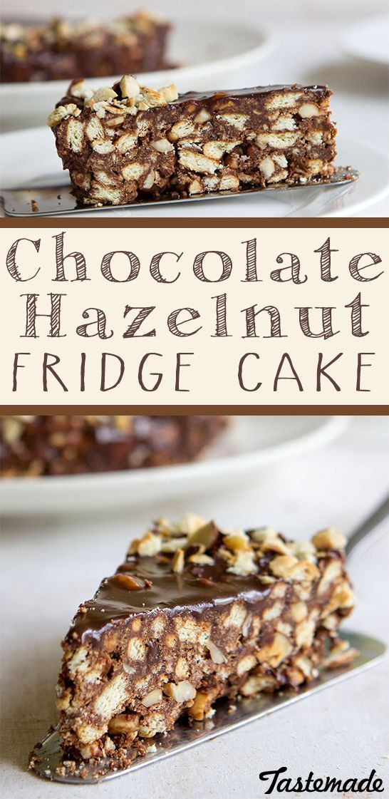 A delightful no-bake chocolate hazelnut cake! The crunchy texture pairs perfectly with a scoop of vanilla bean ice cream.