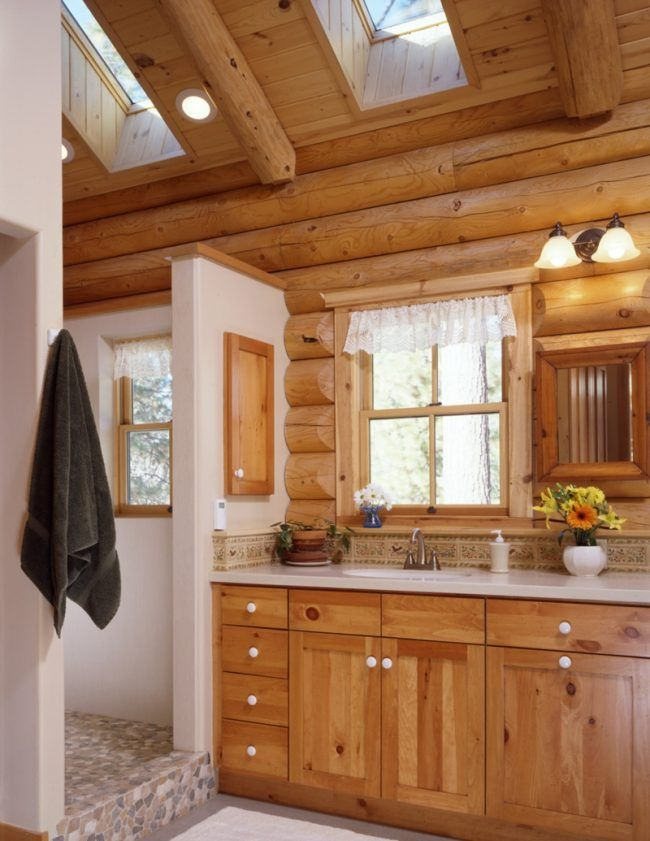 New bad aus holz blockhuette stil schrank einbaudusche fenster dachfenster