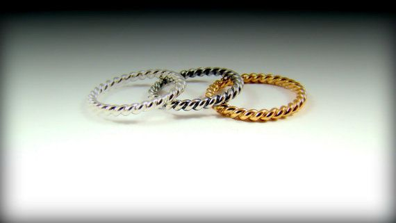 Sterling silver Twist ROPE ring 2 mm gold by DawidPandel on Etsy, zł30.00
