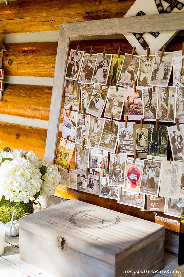 Our Rustic and Romantic Handcrafted Wedding - Vintage Postcard Guestbook with DIY Time Capsule Box http://upcycledtreasures.com/2013/11/our-diy-rustic-romantic-handcrafted-wedding/ #wedding #guestbook #timecapsule