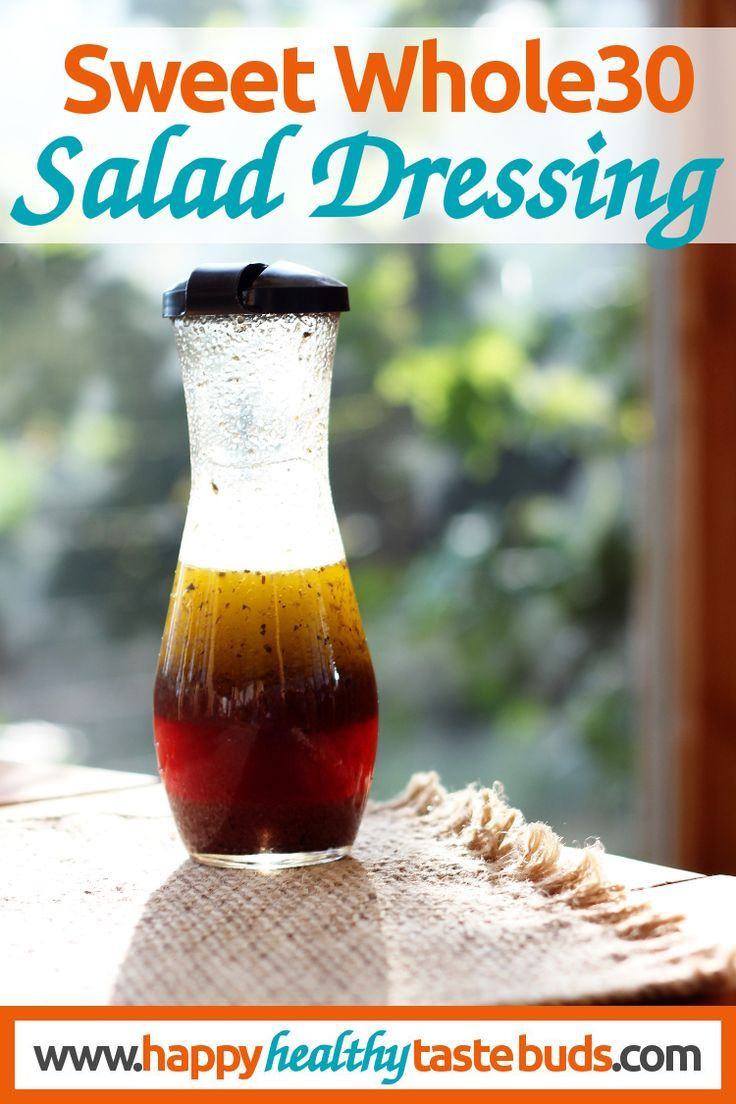 This Sweet Whole30 Salad Dressing recipe uses grape juice + a secret ingredient as Whole30 compliant sweeteners. Can you guess the secret ingredient? | http://www.happyhealthytastebuds.com