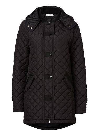 Polyester Quilted Hood Parka. Comfortable fitting silhouette features a detachable hood with ribbed collar, front vertical pockets with grosgrain trim, coated black snap buttons and front zipper in Gunmetal complete with an all over quilted body.  Available in Black.