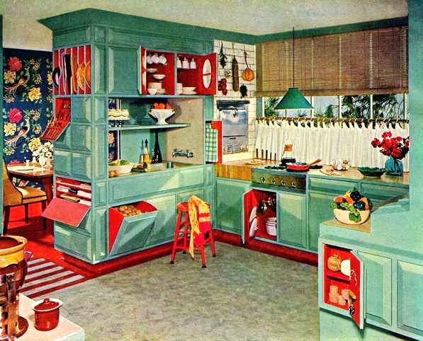 Turquoise And Red Kitchen 1953