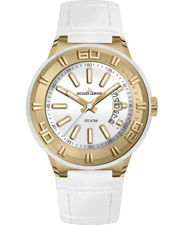 Jacques LEMANS Miami Sport Ladies White Leather Strap Μοντέλο: 1-1771F Η τιμή μας: 134€ http://www.oroloi.gr/product_info.php?products_id=33854