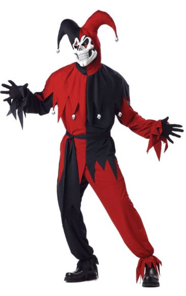 Red And Black Evil Jester Costume | Jokers Masquerade