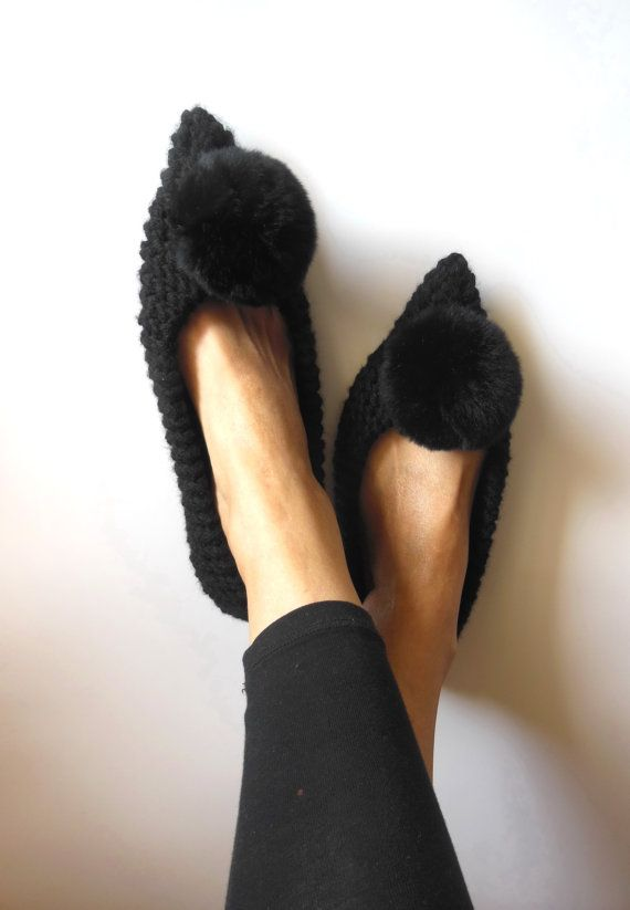 Black Women's Slippers - Witches shoes - Knitted slippers - Gift idea - Gift wrapping - Real Fur - Pointed Toe Ballet flats - READY to SHIP
