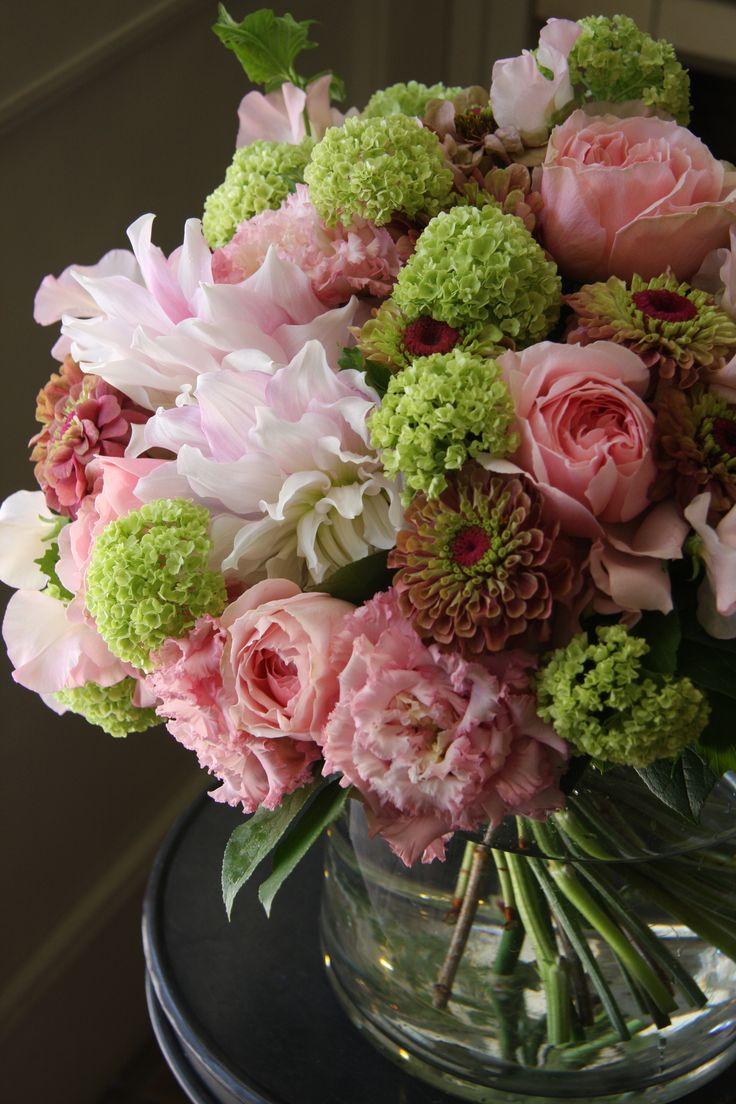 Love pink flowers-dahlia,zinnia,rose and eustoma