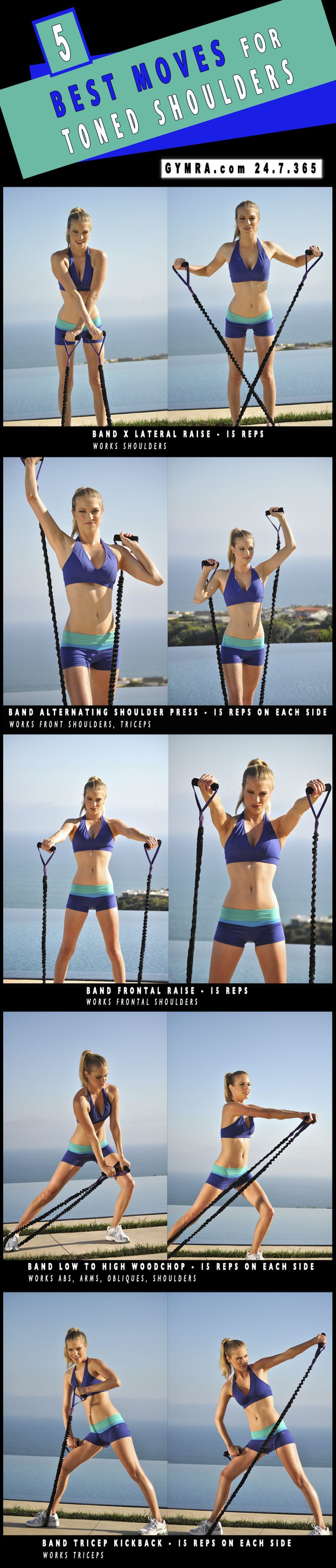 Shoulder Workout with resistance band. [ Waterbabiesbikini.com ] #fitness #bikini #elegance