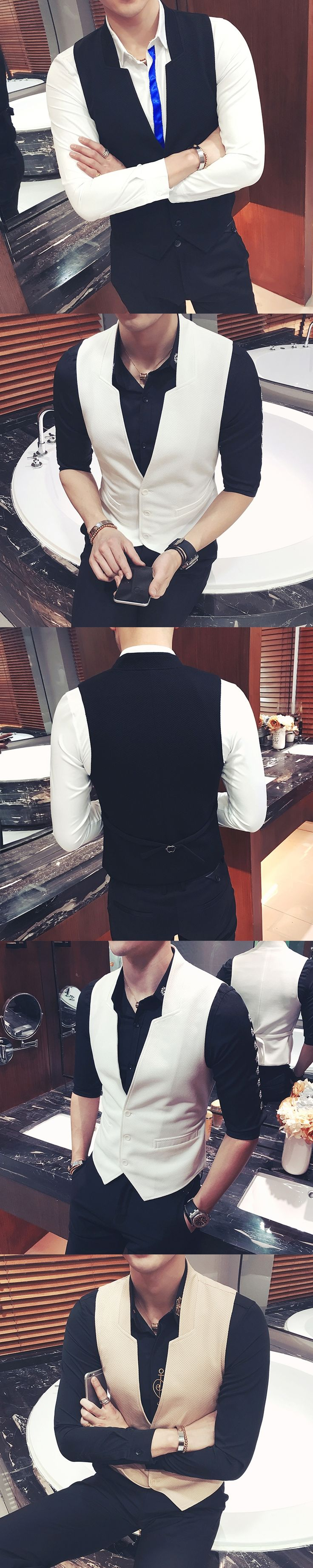 2017 Dress Vests For Mens Stand Collar Khaki Suits Vest Mens Chaleco De Los Hombres Waistcoats Mens Tuxedo Slim fit Club Outfits