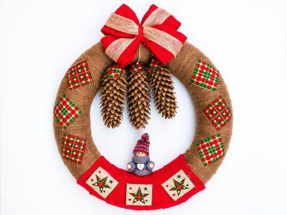Home Christmas wreath, Front Door Wreath, Outdoor Wreath