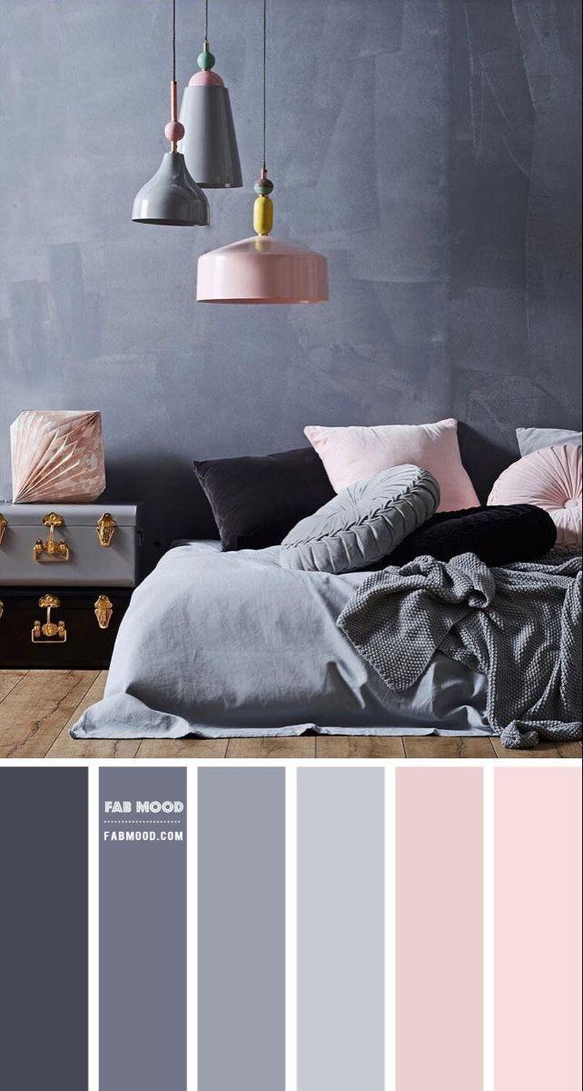 Room Ideas Bedroom, Home Decor Bedroom, Modern Bedroom, Grey Colour Scheme Bedroom, Blue Bedroom, Blush Pink And Grey Bedroom, Burgundy Bedroom, Bedroom Colours, Purple Bedding
