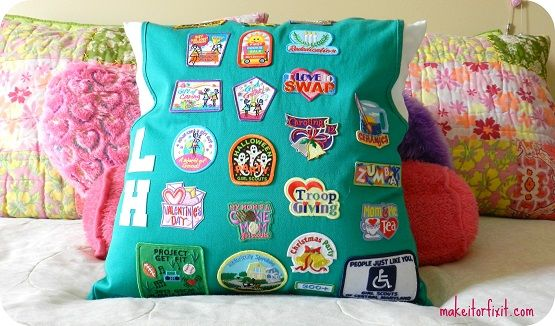 What a cute idea!                                 Turn Your Girl Scouts Vest Into A Pillow!