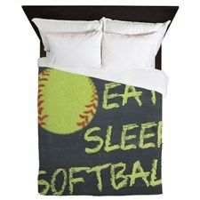 eat, sleep, softball Queen Duvet/ website with softball themed bedroom.....cool website