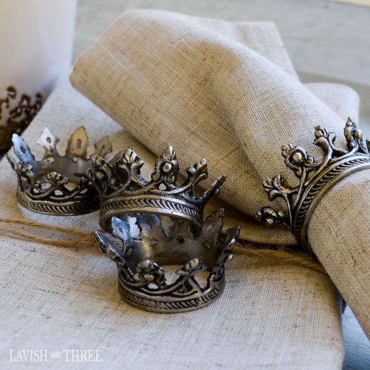 Majestic crown rustic metal napkin rings