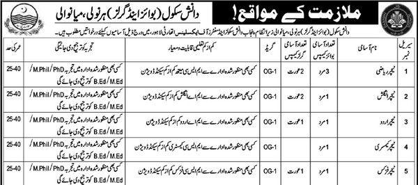 Govt Jobs In Danish Schcool Girls & Boys Mianwali Pakistan