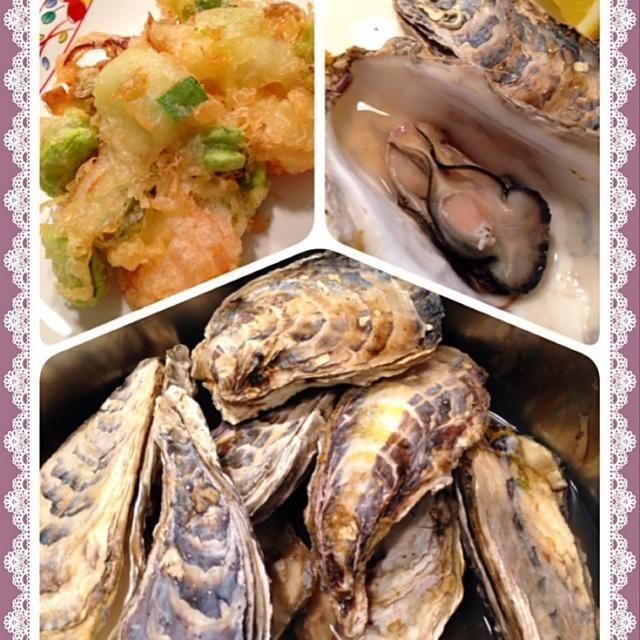 のお供 - 117件のもぐもぐ - 牡蠣のワイン蒸し海老と空豆と葱のかき揚げ by happyhannah