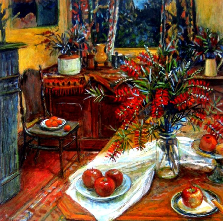 Artist Margaret Olley ~ love her use of rich red colours (apples and Australian bottlebrush flowers)