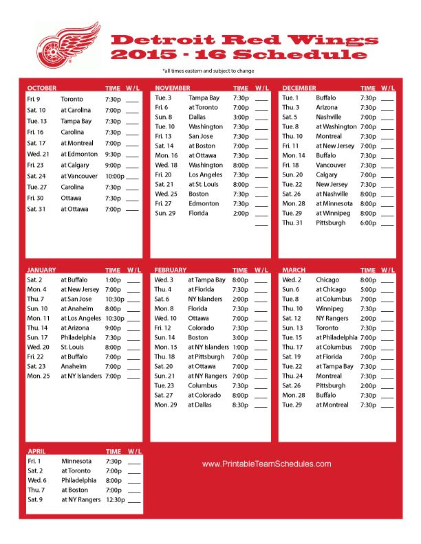 Witty image inside printable red wings schedule