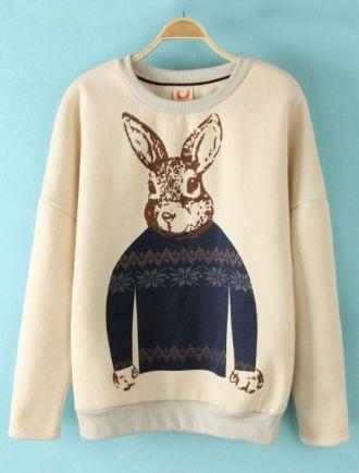 Beige Rabbit Print Elbow Patch Sweatshirt