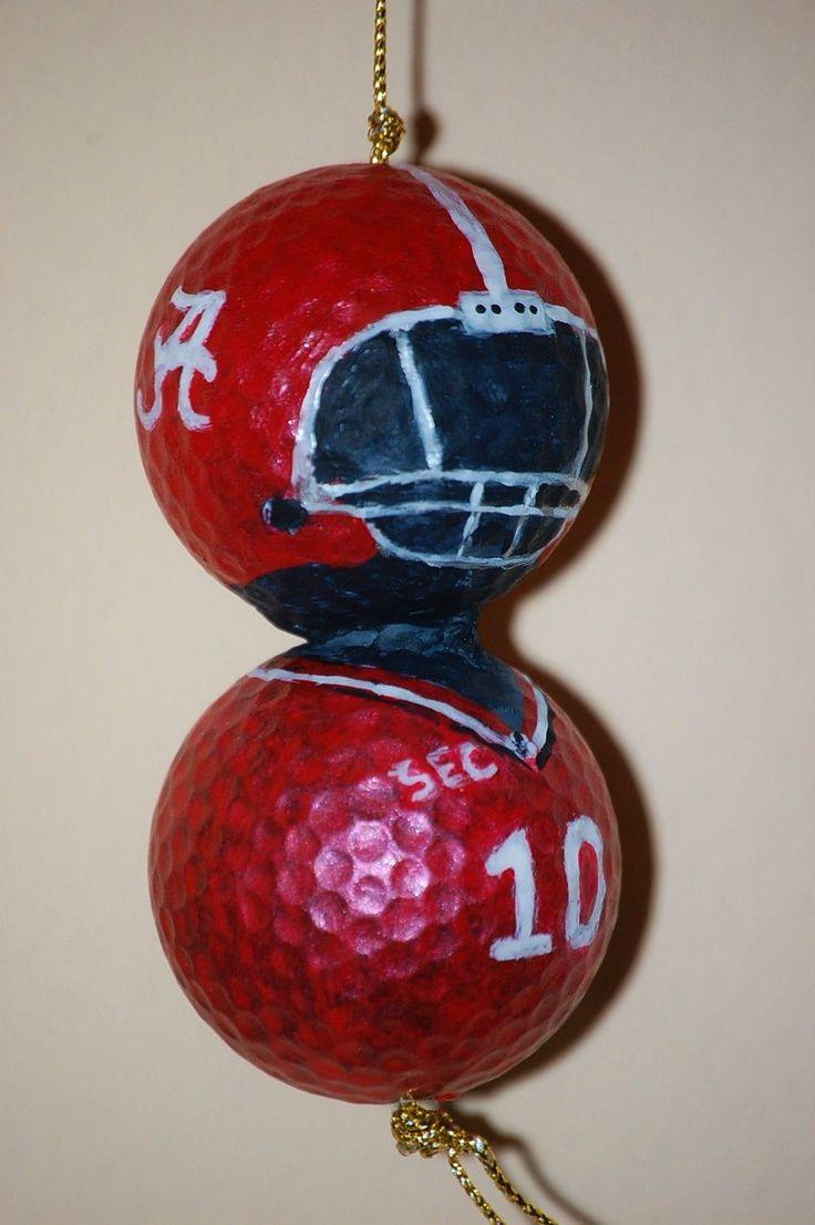 Football player ornament - Crafts Made From Golf Balls University Of Alabama Golf Ball Art
