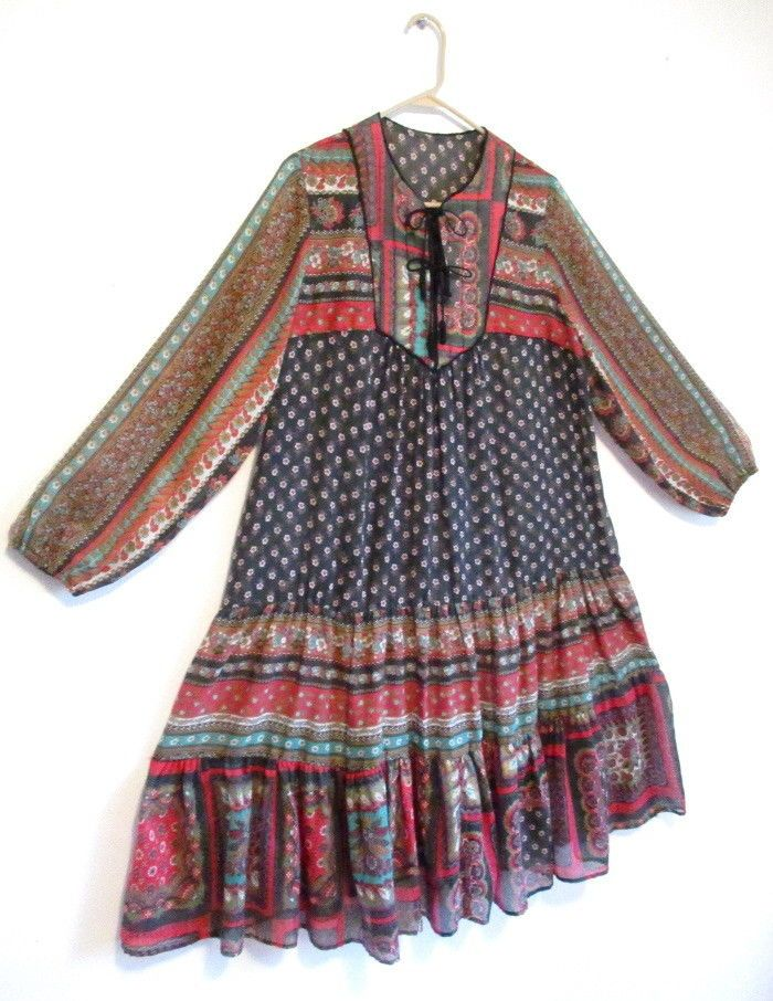 Vintage HIPPIE DRESS Caftan 1970's Gypsy India Festival Boho Ethnic Indian Tent #Unbranded #Casual