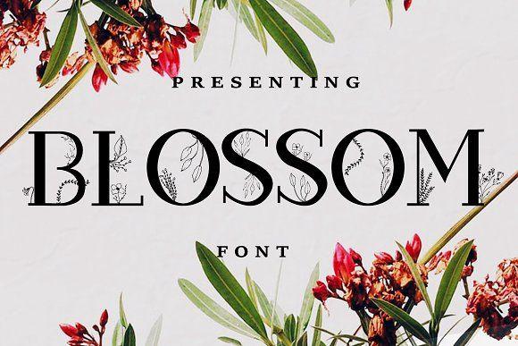 Blossom Font Extras Floral Font Slab Serif Fonts Graphic Design Resources