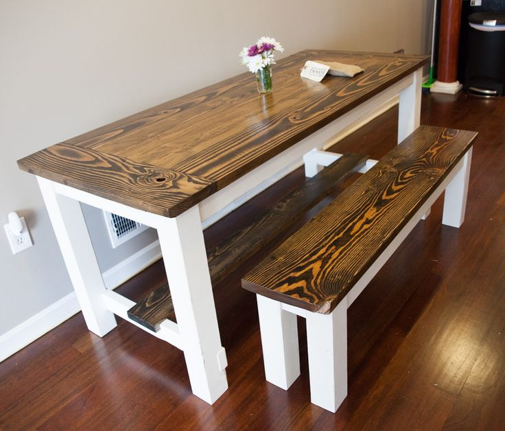 Farmhouse Table with Breadboards and stretchers and a matching bench Narrow