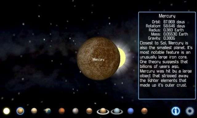 Mercury Orbit : 87 . 969 days Rotation 58 . days Radius : 383 Earth Mass : 0 . 05530 Earth Gravity Closest to Sol Mercury is also the smallest planet . It ' s Mercmost notable feature is an unusually large iron core . One theory suggests that billions of years