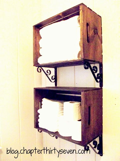 "Transform simple wooden crates into ""designer"" bathroom shelves."