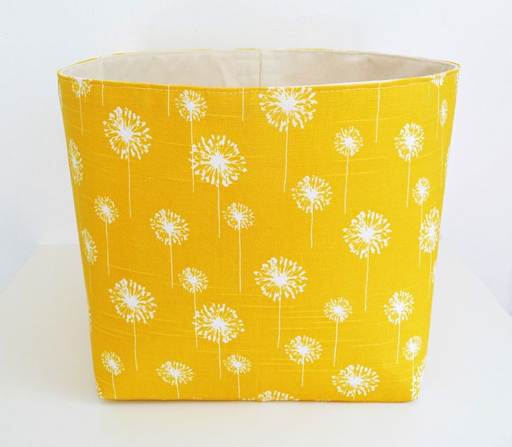Extra Large Storage Basket Fabric Organizer in Yellow Dandelion with Canvas liner - Choose Size by littlehenstudio on Etsy https://www.etsy.com/listing/189815229/extra-large-storage-basket-fabric
