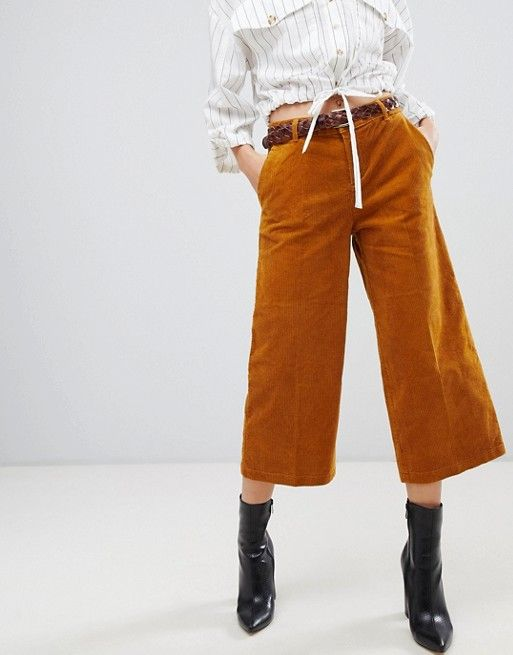 7047376dd Esprit cord Culotte Pants in mustard in 2019 | My Style | Culotte ...