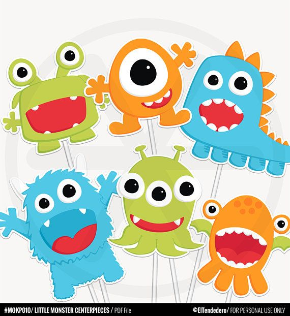 Kleine Monster-Mittelstücke – lustige Geburtstagsdekorationen. Tischdekoration – Party-Mittelstücke – Kinderparty – Baby Shower Decor – Druckfähiges PDF