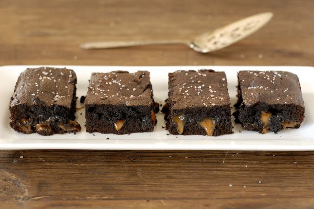 kumquat: Gluten-Free Ratio Rally: Salted Caramel Brownies