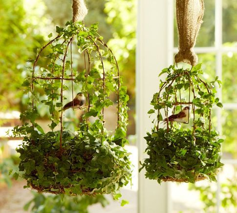 Live ivy Birdcage ♦ Carefully weathered for the look of a charming antique, this sculptural metal birdcage is adorned with lush vines of climbing ivy.