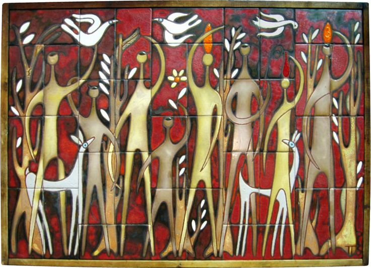 "Panos Valsamakis  Title: ethnic family, c. 1960's,   Medium: ceramic tile panel  Dimensions: 22.75"" x 31.5"""