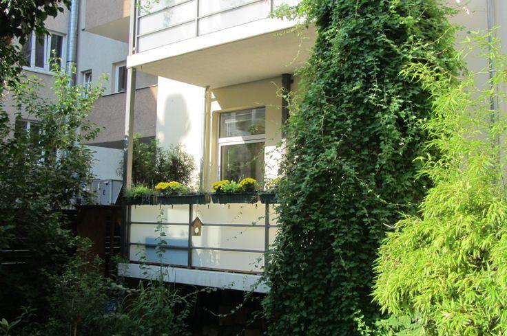 Das üppige Grün auf dem Innenhof bietet Schutz vor neugierigen Blicken und lässt die zentrale Lage in Vergessenheit geraten.