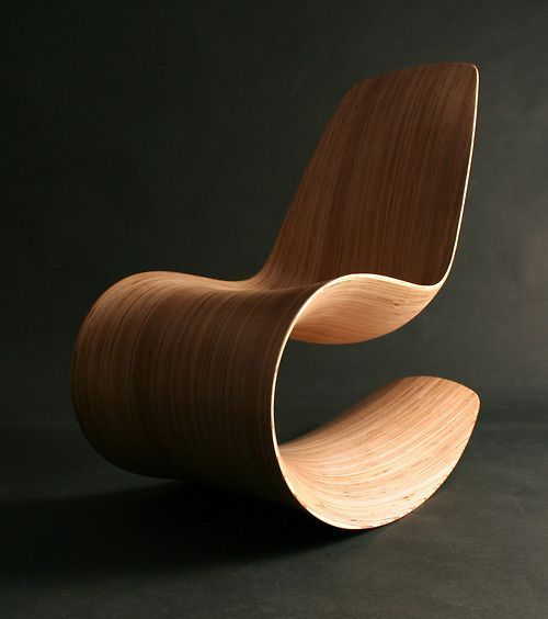 "BeAUtifUL form! #chair #design #wood rocker. The ""breeze' chair by ode in birch with satin lacquer finish. see it at http://nvelt.com/blog/2010/03/01/breeze-chair/"