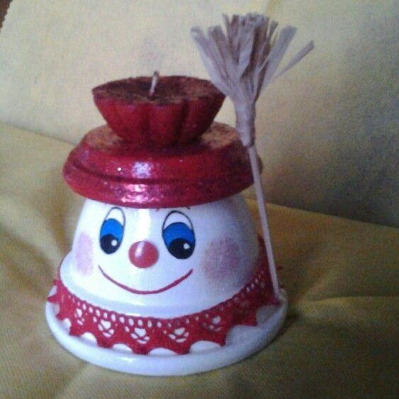 Omino di neve in terracotta con candela