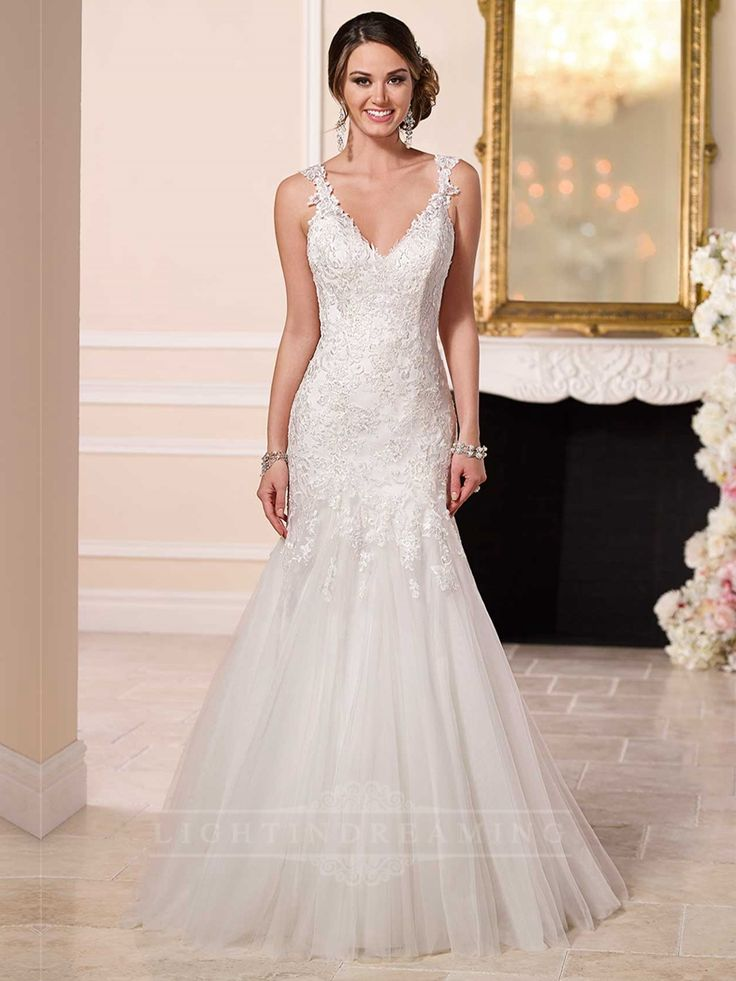 Fit and Flare Beaded Lace and Tulle Satin Wedding Dress