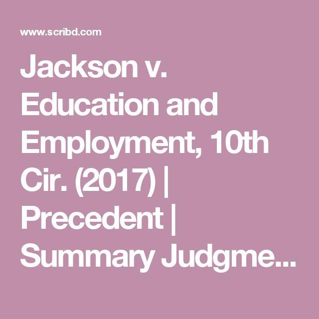 Jackson v. Education and Employment, 10th Cir. (2017) | Precedent | Summary Judgment