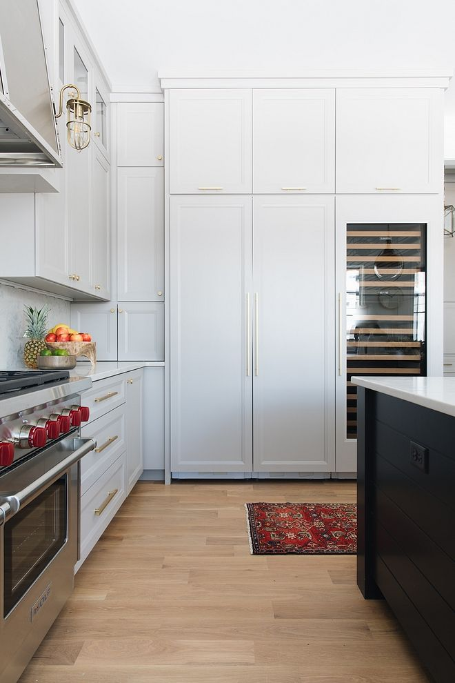 The Fridge Cabinet Wall Features Extra Storage And Also A Full Size Wine Beverage Refrigerator Kitc Kitchen Cabinet Design Kitchen Remodel Kitchen Wall Storage