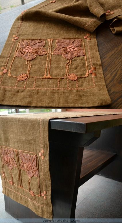 Gustav Stickley, linen runner with embroidered and applique stylized magnolia flowers, 16.5 x 88 in.