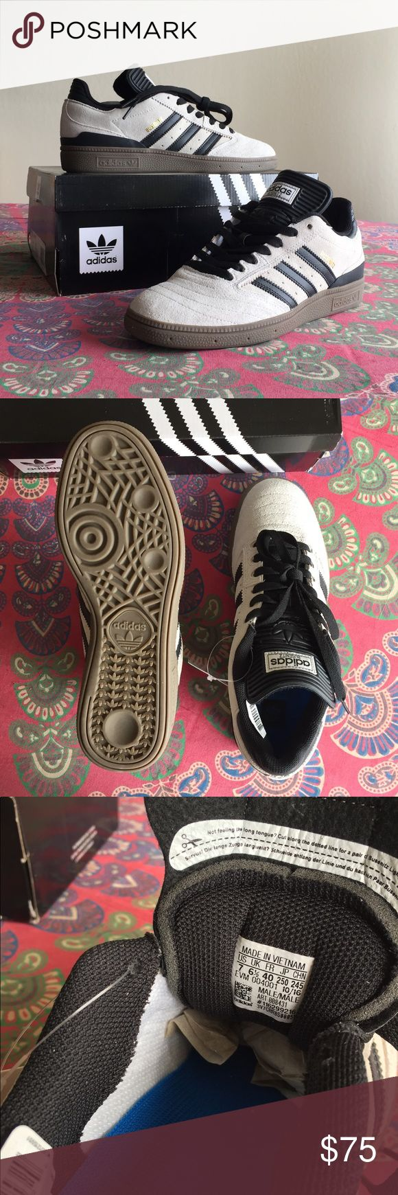 adidas Busenitz Pro Skate shoe NEVER BEEN WORN!! In excellent condition. White suede with classic black stripes. Tongue is adjustable so can be customized to your look/style. US women's size 8/men's size 7. #adidas #skate #blackandwhite adidas Shoes Athletic Shoes