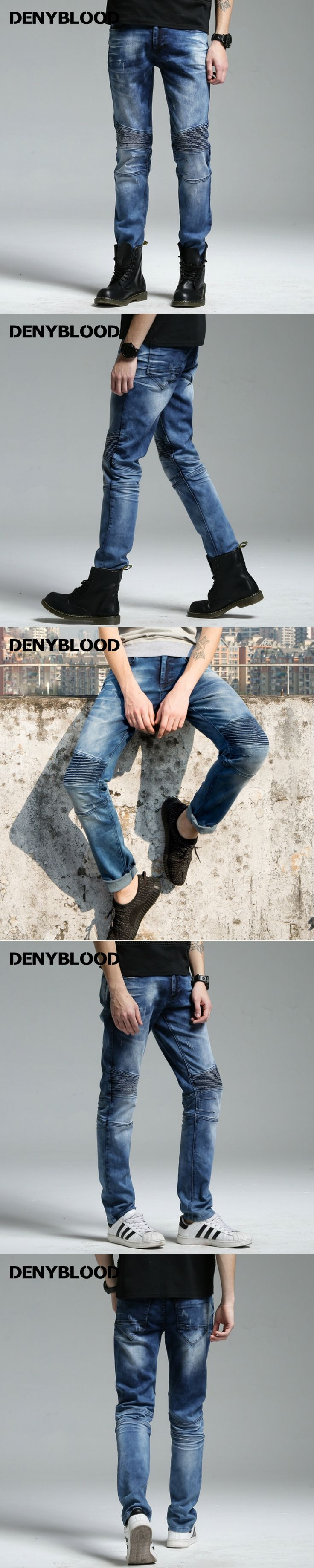 Denyblood Jeans 2017 Spring Summer Men Cargo Jeans Darked Wash Stretch Denim Pants Slim Straight Pleated Cutting Trousers 172050