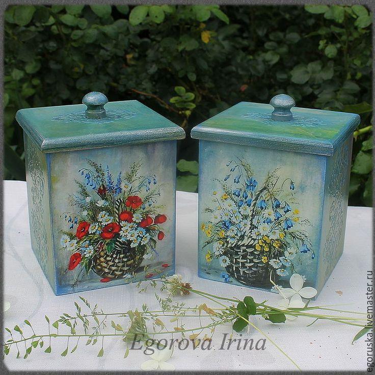 """Купить Короба """"Цветы полевые"""" - мятный, голубой, короб для хранения, короб, короб для кухни"""